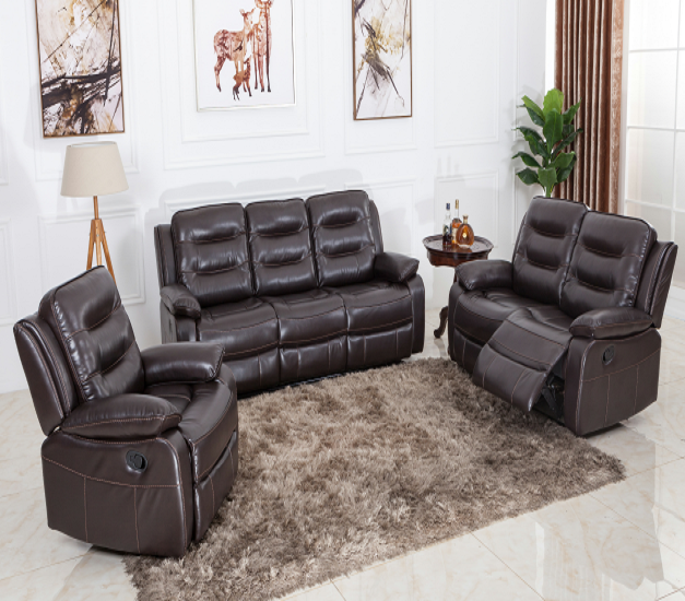 Warehouse stock furniture lounge massage 3+2+1 leather recliner sofa