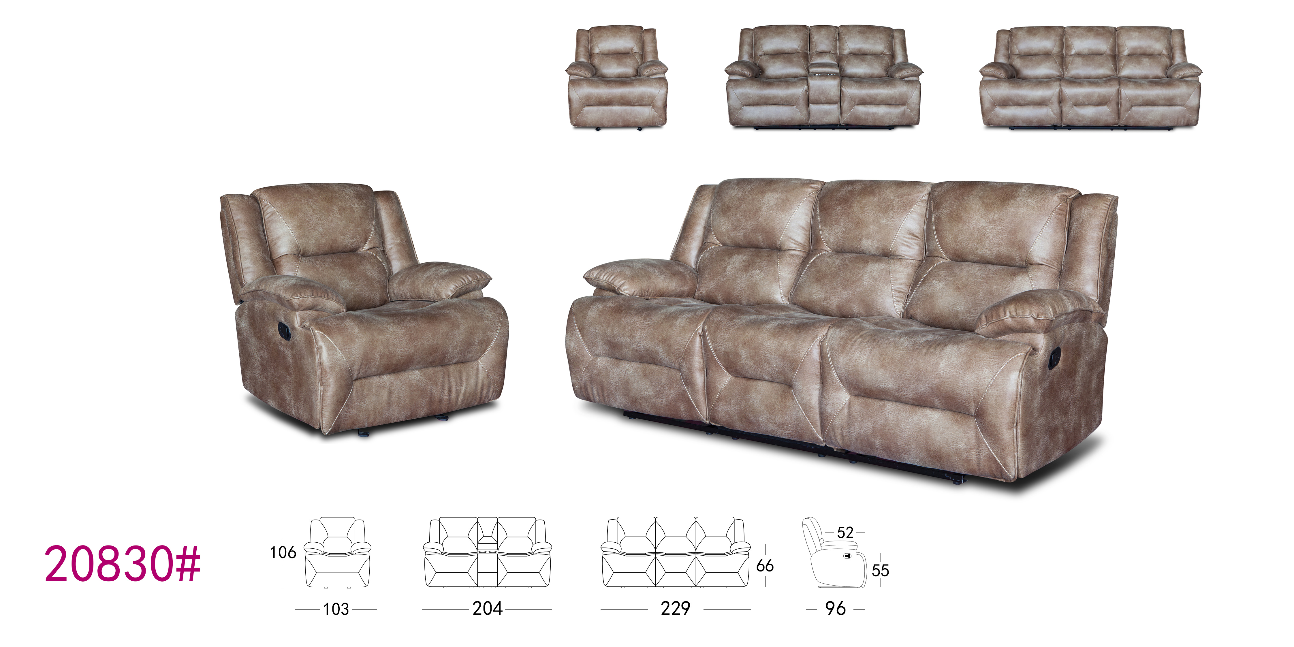 Fancy living room leather motion recliner sofa with coffee table