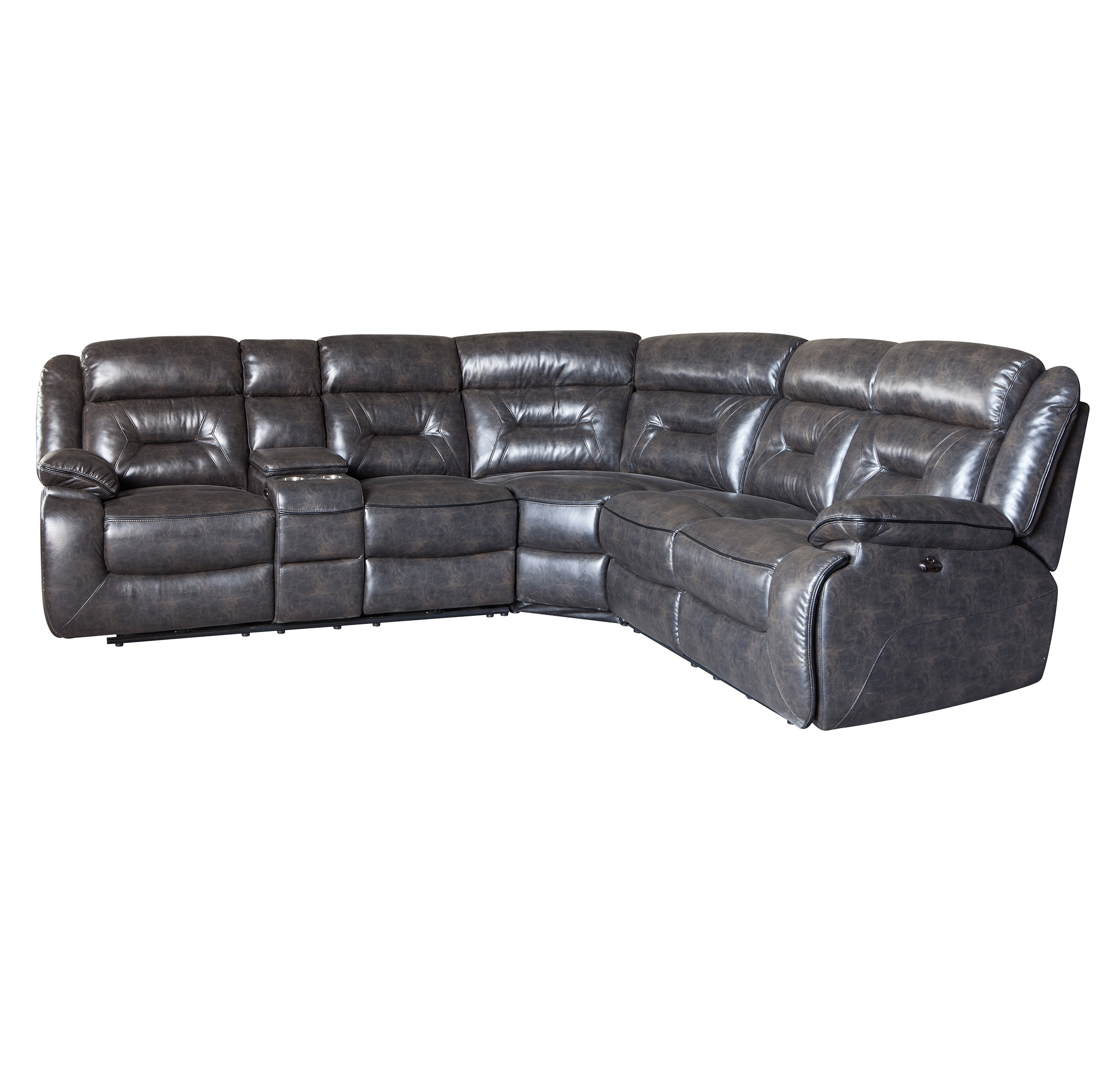 Modern black leather recliner sectional funiture sofa home living room